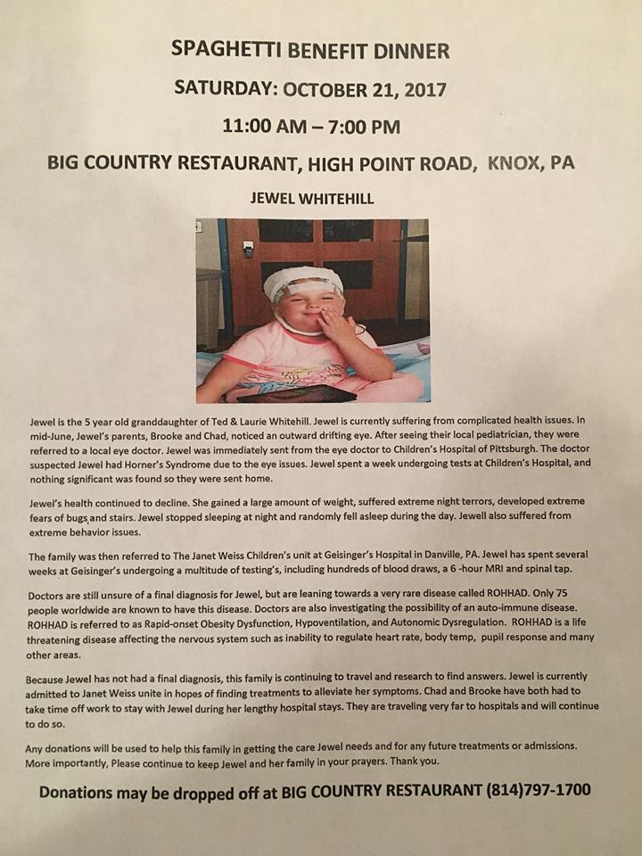 Knox Pa Weather >> Jewel Whitehill Benefit - Knox Area Information